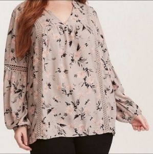 Torrid Floral Boho Lace Bell Long Sleeve Blouse